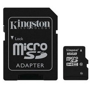 Карта памяти micro-SD Kingston 16GB class 10 + адаптер